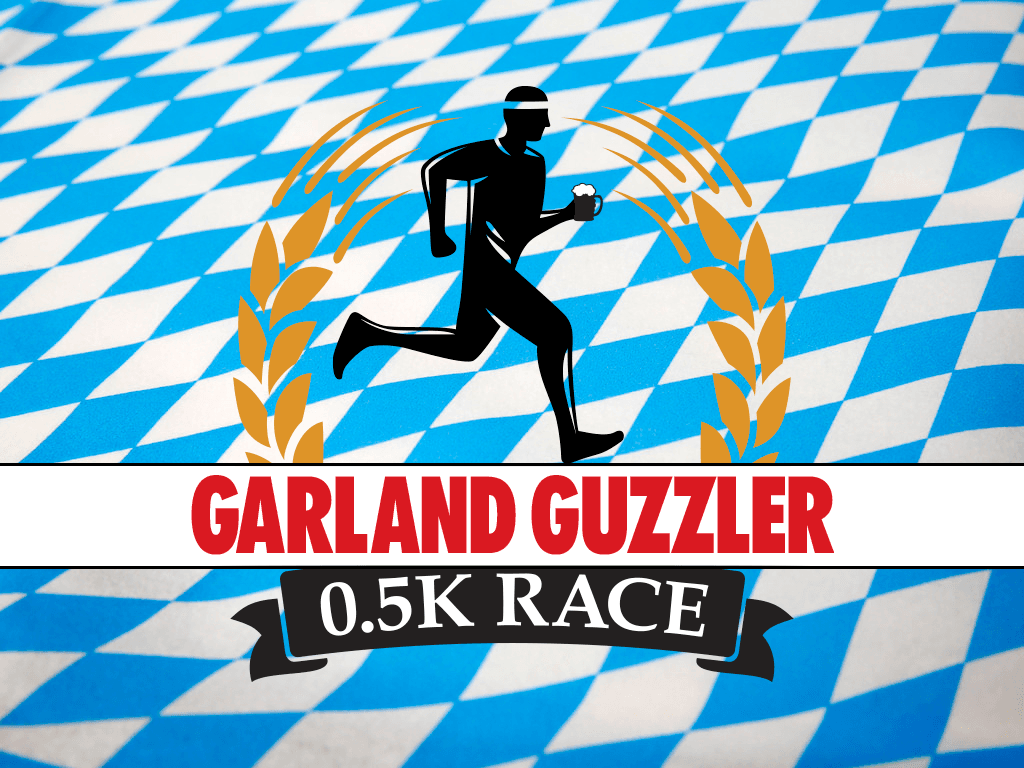 blue and white checkered image with running man holding beer, text reads Garland Guzzler 0.5k Race